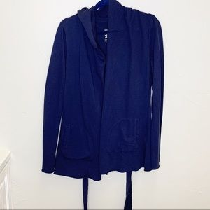 Lucky Brand navy cotton hooded belted cardigan